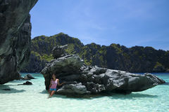 El nido blue water girl palawan philippines Royalty Free Stock Images