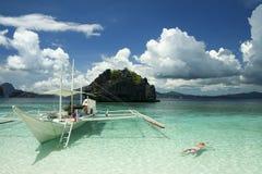 小船el nido palawan菲律宾行程 免版税库存图片