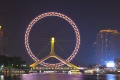 El nightscape del ojo de Tianjin Imagen de archivo