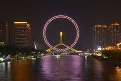 El nightscape del ojo de Tianjin Fotografía de archivo