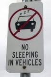 El ningún dormir en vehículos Imagen de archivo