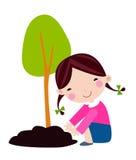 El niño feliz está plantando la pequeña historieta de la planta Imagenes de archivo