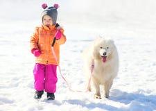 El niño feliz y el samoyedo blanco persiguen caminar juntos en invierno Fotos de archivo libres de regalías