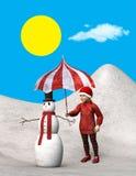 El niño protege el muñeco de nieve, Sun, ejemplo Imagen de archivo libre de regalías