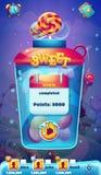 El nivel móvil del GUI del mundo dulce terminó la pantalla para el juego video del web Imagen de archivo libre de regalías