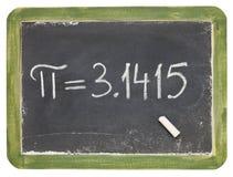El número pi en una pequeña pizarra Imagen de archivo libre de regalías