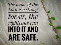 El nombre del señor es un fuerte del diseño del verso de la biblia para el cristianismo