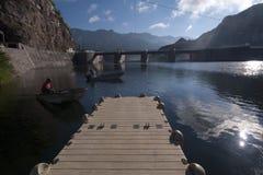 El Novillo dam. A boat at the El Novillo dam in Sonora, Mexico Stock Photos