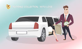 El novio ayuda a la novia a salir de la limusina de la boda imagen de archivo