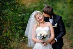 El novio besa a la novia en amor en el parque del verano fotos de archivo