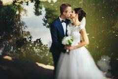 El novio besa a una novia que se coloca en la orilla del lago fotos de archivo