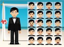 El novio Cartoon Emotion del hombre hace frente al ejemplo del vector Fotografía de archivo libre de regalías