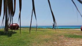 El novio hermoso camina en la playa exótica en Chipre honeymoon almacen de metraje de vídeo