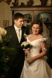 El novio y la novia junto Imagen de archivo libre de regalías