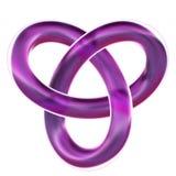 El nudo de lazo púrpura aislado del trébol 3D rinde en el fondo blanco Fotos de archivo libres de regalías
