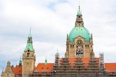 El nuevo ayuntamiento, la residencia de la cabeza de la administración municipal, Hannover, Baja Sajonia, Alemania Copie el espac fotografía de archivo