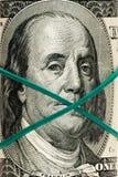 El nuevo 100 billete de dólar, cierre encima de la cara de Franklin Fotografía de archivo