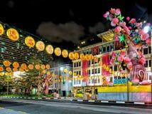 El nuevo camino del puente de Singapur de Chinatown adornó por Año Nuevo Imagen de archivo libre de regalías