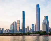 El nuevo CBD de Guangzhou en la puesta del sol 3 Fotos de archivo libres de regalías
