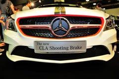 El nuevo freno de tiroteo del CLA de Mercedes-Benz en la exhibición durante el Singapur Motorshow 2016 Imágenes de archivo libres de regalías