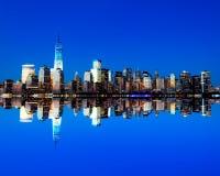 El nuevo horizonte de Freedom Tower y del Lower Manhattan Fotos de archivo