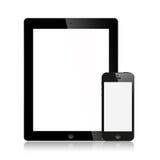 El nuevo Ipad (Ipad 3) y negro del iPhone 5 aislado Imagen de archivo libre de regalías
