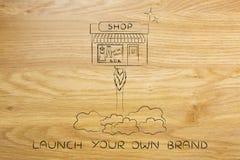 El nuevo lanzamiento de la tienda, poco vuelo de la tienda le gusta un cohete Imágenes de archivo libres de regalías