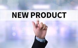 El NUEVO PRODUCTO piensa el márketing del lanzamiento de la innovación Foto de archivo