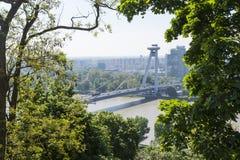 El nuevo puente en Bratislava Imagen de archivo