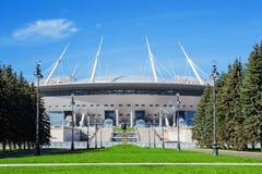 El nuevos estadio de St Petersburg del fútbol y x28; Krestovsky& x29; en la construcción del ander de St Petersburg Imágenes de archivo libres de regalías