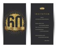 el 60.o aniversario adornó la plantilla de la tarjeta de felicitación Fotos de archivo