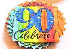 el 90.o celebra servilletas Foto de archivo libre de regalías