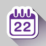 el 22o icono del calendario grande para ningunos utiliza Vector eps10 Fotografía de archivo
