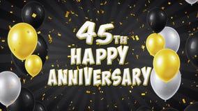 el 45.o saludo feliz y los deseos del negro del aniversario con los globos, confeti colocaron el movimiento libre illustration