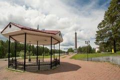 El obelisco en la frontera de Europa - Asia cerca de Ekaterimburgo Foto de archivo libre de regalías