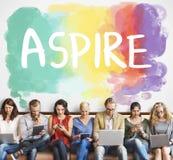 El objetivo de la ambición aspira concepto de las aspiraciones de la motivación de las metas imágenes de archivo libres de regalías