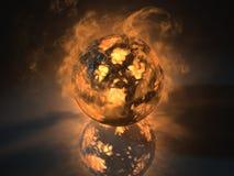 El objeto de la esfera que brillaba intensamente llenó de energía Imagen de archivo