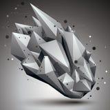 El objeto de red poligonal de la estructura abstracta 3D, grayscale deforma ilustración del vector
