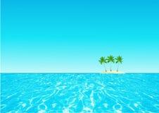 El océano abstracto del fondo, palmas termina el cielo azul Ilustración del Vector