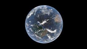 El Océano Atlántico entre Suramérica y África detrás de una capa de nubes en la bola de la tierra, un globo aislado, 3D represent stock de ilustración