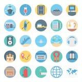 El ocio, el viaje y el icono aislado viaje del vector consisten con el barco, el jugo, el taxi, la taza, el cepillo, el mapa y el libre illustration