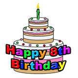 El octavo cumpleaños feliz indica el partido y saludos de la celebración Fotos de archivo
