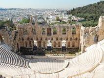El Odeon del ANUNCIO del Atticus 161 de Herodes en la acrópolis en Atenas Imágenes de archivo libres de regalías
