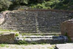 El Odeon en Apollonia, Albania Fotografía de archivo