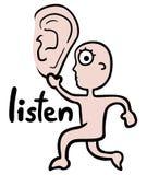 El oído escucha Foto de archivo libre de regalías