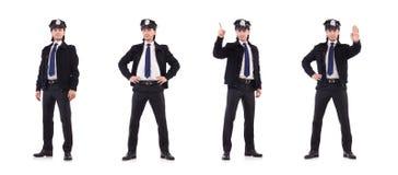 El oficial de policía aislado en blanco foto de archivo