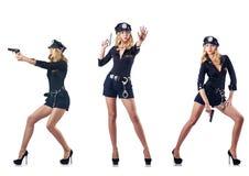 El oficial de policía de la mujer aislado en blanco Imágenes de archivo libres de regalías