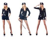El oficial de policía de la mujer aislado en blanco Imagen de archivo
