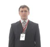 El oficinista con el espacio en blanco badges en el cuello. fotos de archivo libres de regalías