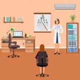El oftalmólogo comprueba la vista del paciente en interior de la oficina del oculista foto de archivo libre de regalías